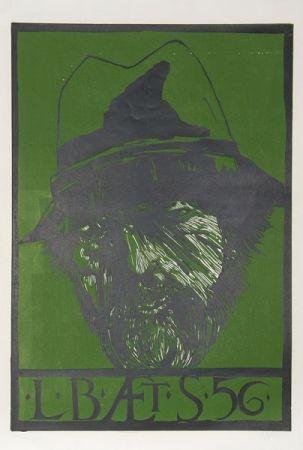 Linocut Baskin - Self Portrait -