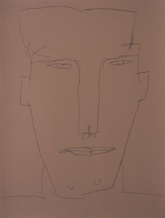 Lithograph Brown - Self Portrait 17