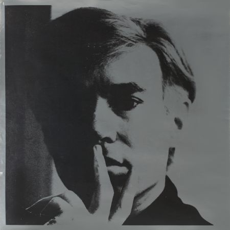 Lithograph Warhol - Self Portrait by Andy Warhol is a lithograph on silver coated paper