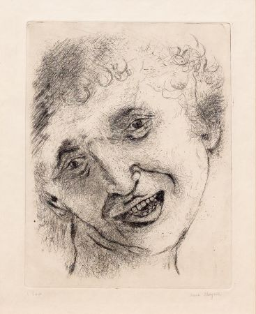 Etching Chagall - Self Portrait with a Laughing Expression