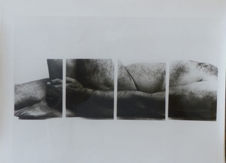 Photography Coplans - Selfportrait lying figure, holding leg, four panels