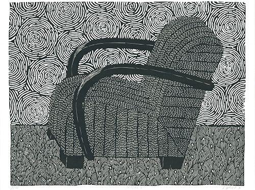 Linocut Wahle - Sessel 4