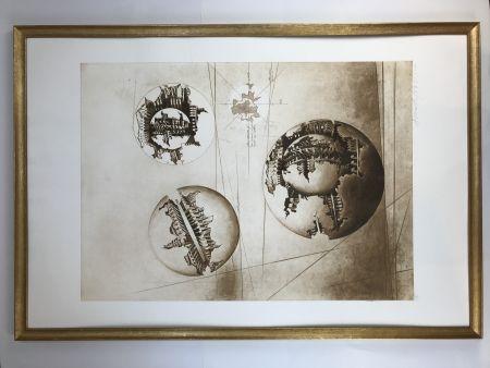 Etching And Aquatint Pomodoro - Sfera con sfera