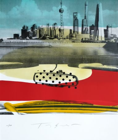 Lithograph Soulie - Shanghai le Bund