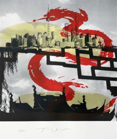 Lithograph Soulie - Shanghai le Dragon