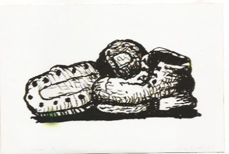 Lithograph Guston - Shoes