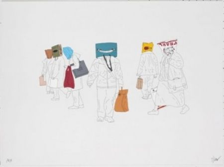 Lithograph Partegas - Shopping Heads
