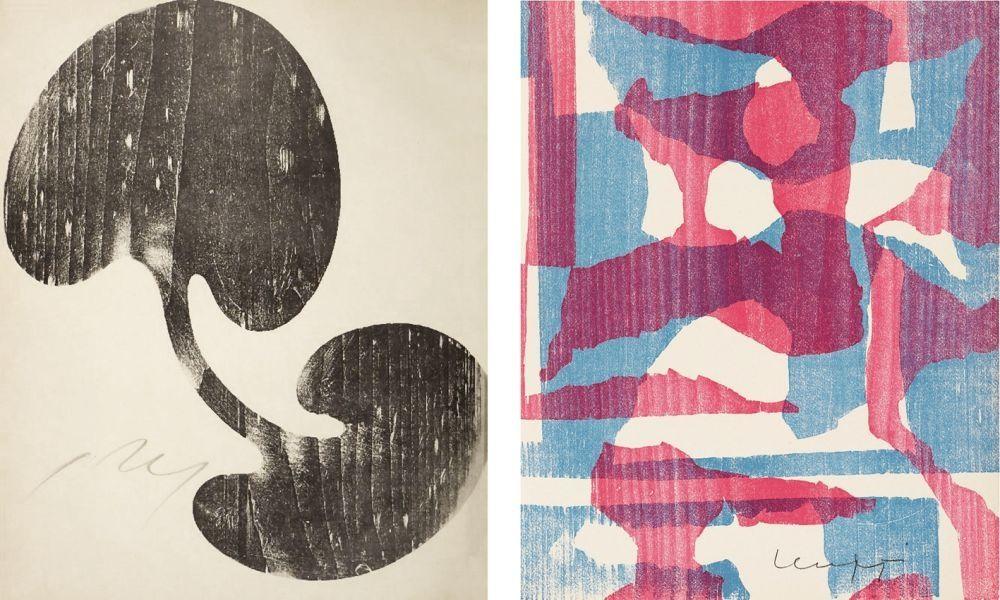 Woodcut Arp - Siamesisches Blatt : ONZE PEINTRES VUS PAR ARP. 1949. Deluxe.