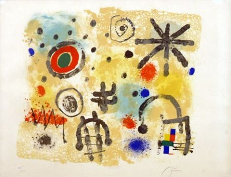 Lithograph Miró - Signs and Meteors (1958)