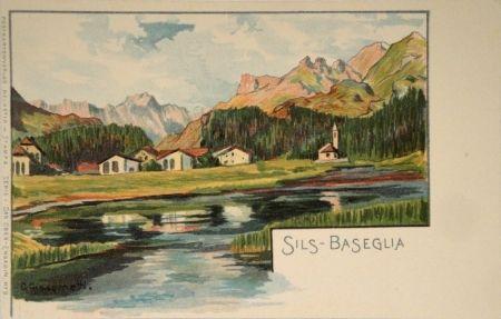 Lithograph Giacometti - Sils-Baseglia / Samaden / Sils-Maria / Silva Plana mit Piz Margna / Maloja / Der Schafberg