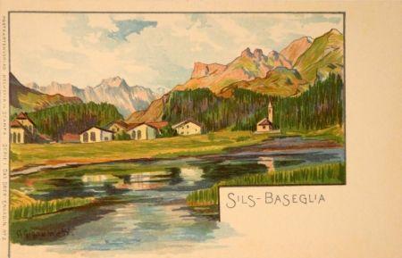 Lithograph Giacometti - Sils-Baseglia / Samaden / Sils-Maria / Silva Plana mit Piz Margna / Maloja / St.Moritz / Der Schafberg / Forno-Gletscher.