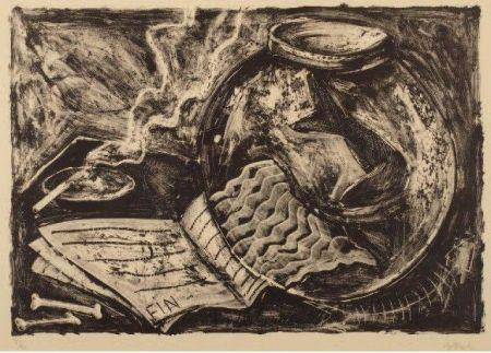 Lithograph Barcelo - Sin título (Pecera y libro)
