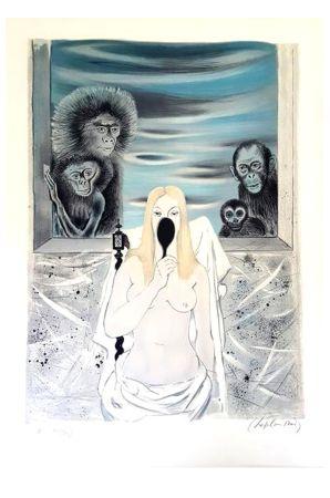 Lithograph Chapelain-Midy - Singes