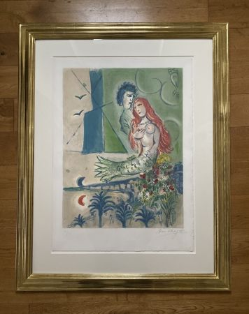 Lithograph Chagall (After) -  Sirène au Poète