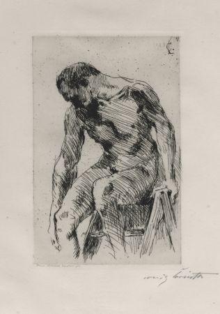 Engraving Corinth - Sitzender männlicher Akt