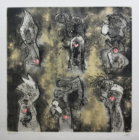 Etching And Aquatint Matta - Six personnages