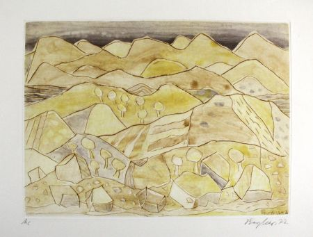 Etching And Aquatint Bargheer - Sizilianische Landschaft / Sicilian Landscape