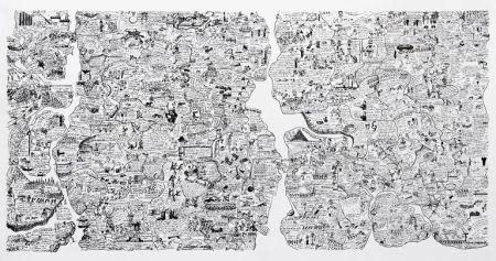 Screenprint Fahlström - Sketch for World Map from the Peace Portfolio