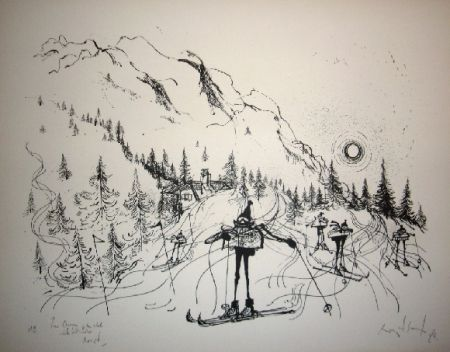 Lithograph Searle - Ski