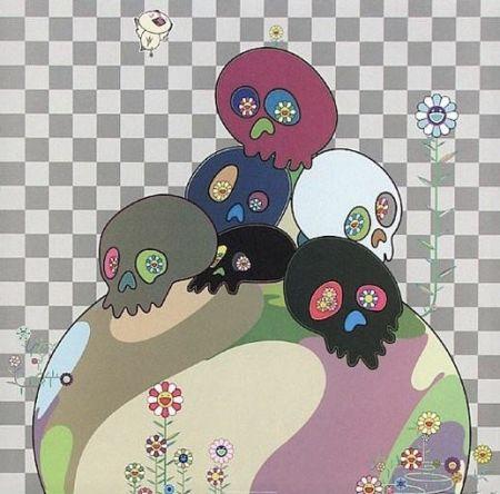 Lithograph Murakami - Skulls rock