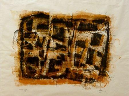 Monotype Ubac - Slate print with gouache