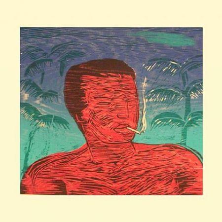 Woodcut Montes (De) - Smoking Man