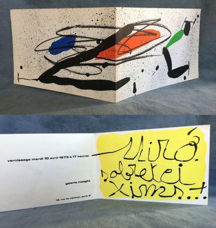 Lithograph Miró - SOBRETEIXIMS…Carton d'invitation pour une exposition Miró à la Galerie Maeght. 1973.