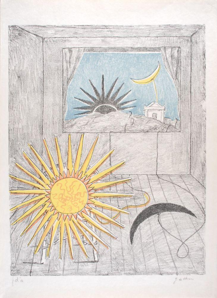 Lithograph De Chirico - Sole e luna in una stanza
