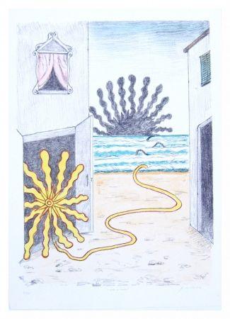 Lithograph De Chirico - Sole et mare