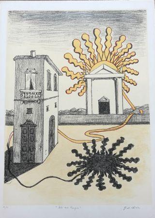 Lithograph De Chirico - Sole sul tempio
