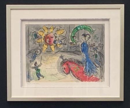 Lithograph Chagall - Soleil au cheval rouge