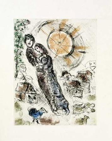 Etching Chagall - Soleil aux amoureux