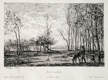 Etching Daubigny - Soleil couchant