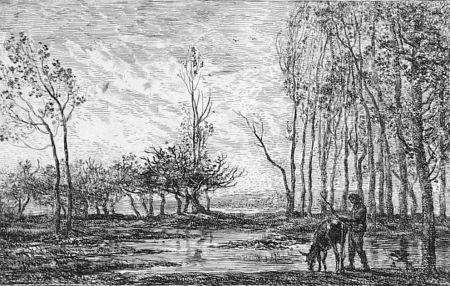 Engraving Daubigny - Soleil couchant
