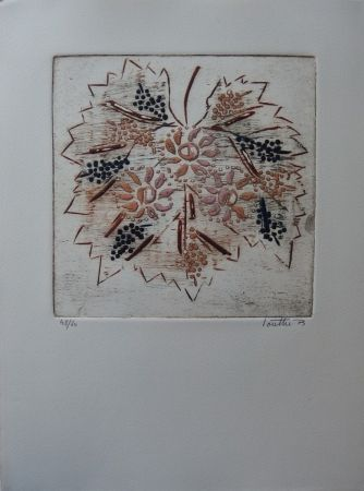 Etching And Aquatint Louttre - Soleil, vigne, vin