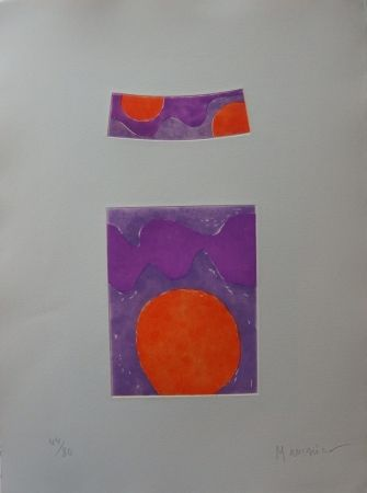 Etching And Aquatint Manessier - Soleils oranges