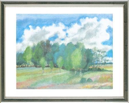 Lithograph Grass - Sommerlandschaft mit Birken