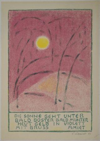 Lithograph Amiet - Sonnenuntergang