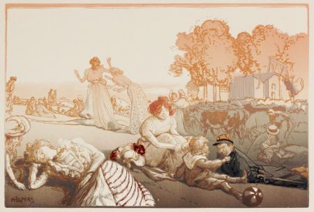 Woodcut Lepere - Sonntag vor den Thoren von Paris  (Bucolique moderne)