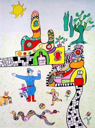 Lithograph De Saint Phalle - Sortie d'école