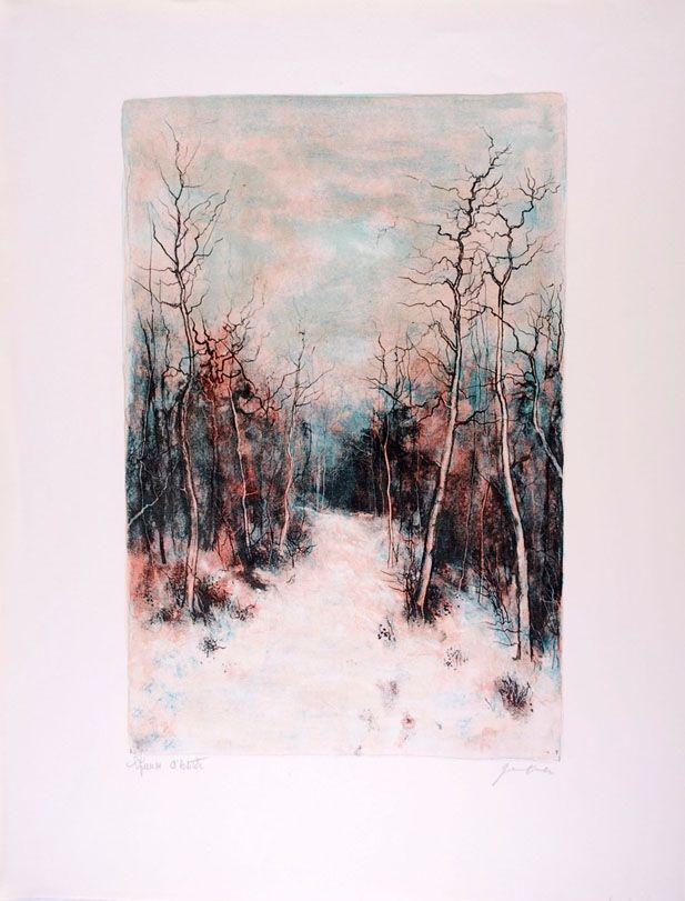 Lithograph Gantner - Sous la Neige - Under Snow