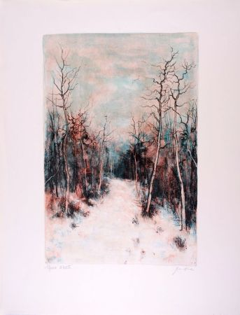 Lithograph Gantner - Sous la Neige - Under Snow