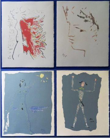 Lithograph Cocteau - Sous le manteau de feu