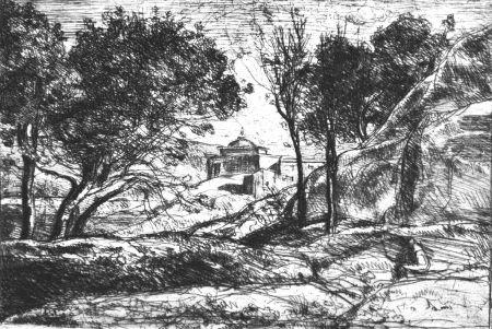 Engraving Corot - Souvenir de Toscane