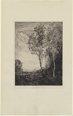 Etching Corot - Souvenir d'Italie, in