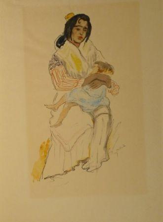 Lithograph Orlik - Spanische Zigeunerin mit Kind, Sevilla