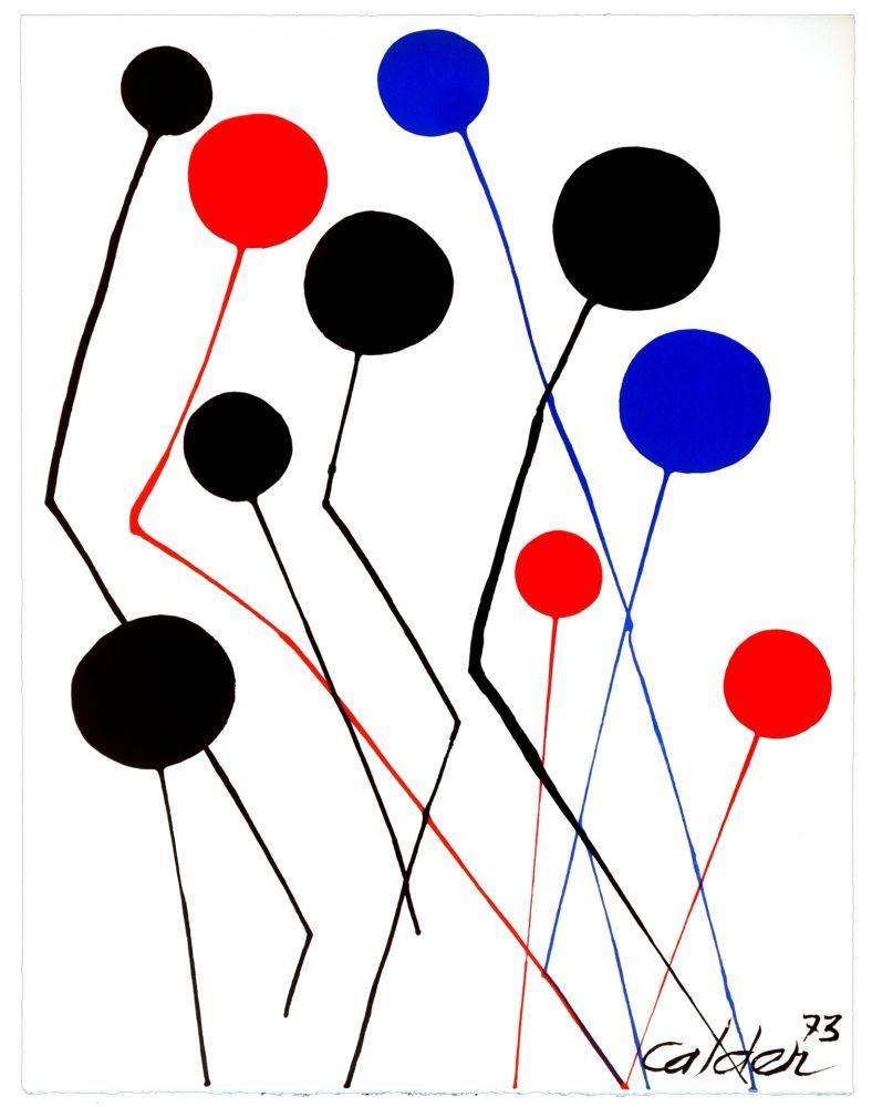 Lithograph Calder - Spanish refugee aid