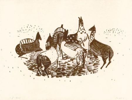 Lithograph Music - Spielende Pferde