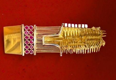 No Technical Pomodoro - Spilla originale in oro rosso e bianco con 12 rubini