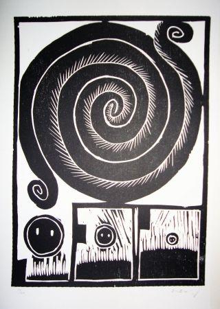 Woodcut Alechinsky - Spirale